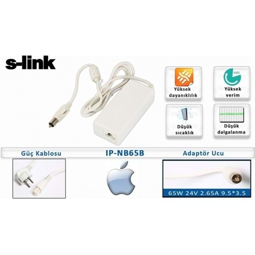 S-LİNK IP-NB65B 63W 24V 2,65A 9,5*3,5 APPLE NOTB. STANDART
